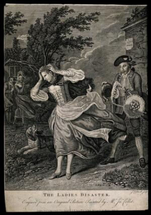 view A young woman's wig and hat being swept away by a gust of wind; behind her a young man is laughing, to the left stand an amused couple. Engraving by J. Caldwell, 1771, after J. Collet.
