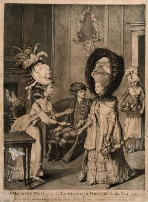 view A woman wearing a high wig and protective hood entering into a breakfast parlour and being greeted by another woman wearing an elaborate wig and hat with feathers attached to the back of it; in the background a seated man looks on and a maid-servant brings in a tray of tea things. Mezzotint, 1778.