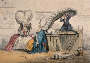 view A man tying a woman's absurdly high wig on to a scaffolding; another woman wearing a tall heart-shaped wig looks on. Coloured etching attributed to M. Rapine.