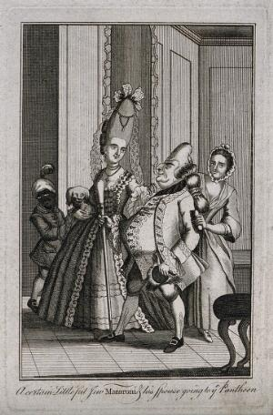 view A fashionable man and woman accompanied by a maid-servant and a boy servant; the woman, who wears an elaborately decorated pyramid wig, carries a dog under her right arm and looks admiringly at her male companion. Engraving, c. 1772.