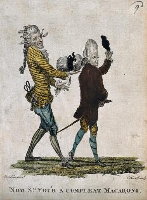 view A fashionable man takes his hat off while strolling; his hairdresser assists him by supporting the weight of his large wig. Coloured engraving by J. Caldwell after M.V. Brandoin.