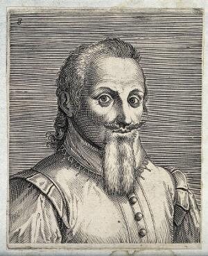 view The head and a shoulders of a man with a long beard and a moustache that is combed upwards. Engraving by P. Galle.