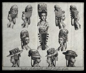 view Twelve fashionable head-dresses for women. Etching.