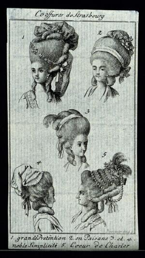 view The heads and shoulders of five women who wear elaborate wigs, head-dresses, hats and hoods. Etching by Rosmaesler (?).