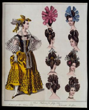 view To the left a woman wearing the Hungarian (?) national costume comprising a lattice patterned tight-fitting bodice, voluminous skirt, wide sleeves and a head-dress; to the right eight heads of women wearing fashionable head-dresses. Coloured engraving.