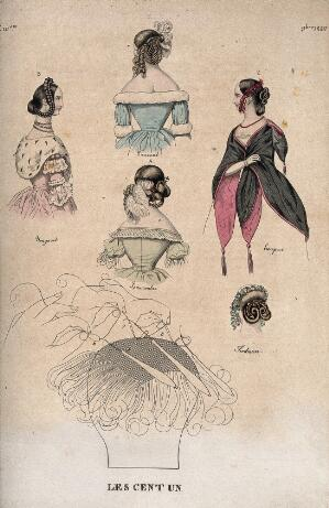 view Five women wearing fashionable dresses, hair-pieces and accessories, the back of a woman's head showing arrangement of hair; and a diagram explaining how hair-pieces are attached to natural hair. Coloured etching, c. 1840.