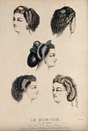 view The heads of five women with ringletted hair dressed with jewellery and flowers. Coloured lithograph by Michelet, 1865.