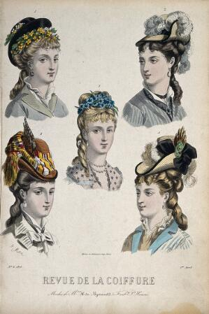 view The heads of five women with their hair combed back and dressed with chignons, hats, and flowers. Coloured engraving, 1875, after A. Max (?).
