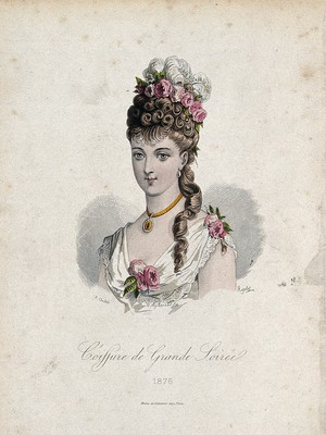 view The head and shoulders of a woman with brown hair wearing a high chignon attached to her natural hair which is decorated with flowers and feathers. Coloured line block, 1876, by Rigolet after A. Chaillot.