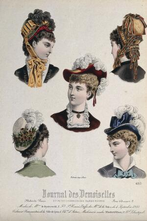view The heads and shoulders of five women wearing hats elaborately decorated with feathers, ribbons, and flowers. Coloured line block.