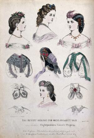 view The heads and shoulders of five women wearing their hair dressed with flowers, butterflies, feathers, jewellery and a hat; two bodices with embroidery and four collars. Coloured line block, 1863, by Thiery (?).