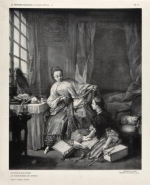 view A woman sitting next to her dressing table being shown fashion accessories by a fashion seller sitting at her feet. Photogravure, 1912, by C. Eggimann after F. Boucher.