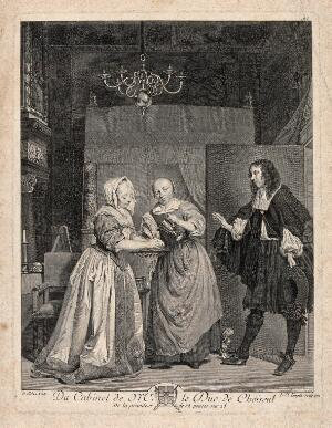 view A woman washing her hands in a bowl of water held by a maidservant; a man enters through a door on the right. Engraving by C.L. Lingée, 1772, after G. Metsu.
