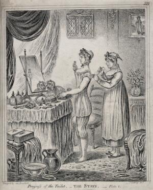 view A woman standing at a dressing table while a maidservant laces her stays. Etching by J. Gillray, 1810, after himself.