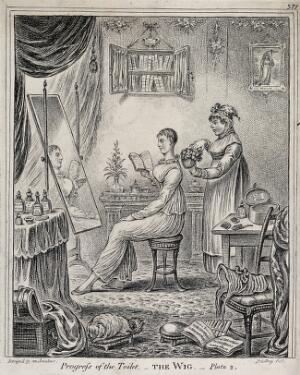view A woman sitting at a dressing table reading a book; behind her a maidservant fluffs up the curls on a wig which she is about to place upon her head. Etching by J. Gillray, 1810, after himself.