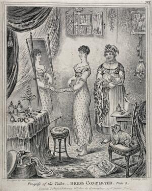 view A woman in evening dress standing in front of a mirror; to the left a maidservant holds her fan and shawl. Etching by J. Gillray, 1810, after himself.