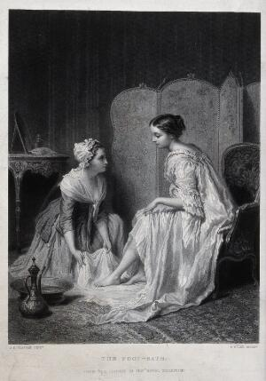 view A maidservant washing a woman's feet. Engraving by P. Pelée after A.E. Plassan.