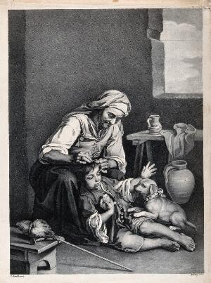 view An old woman picking fleas from a boy's hair. Lithograph by F. Piloty, ca. 1810-1821, after B.E. Murillo.