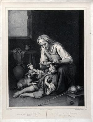 view An old woman picking fleas from a boy's hair. Lithograph by F. Piloty after B.E. Murillo.