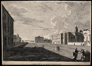 view Baths of Diocletian, Rome. Etching by J. Gandon after R. Wilson.
