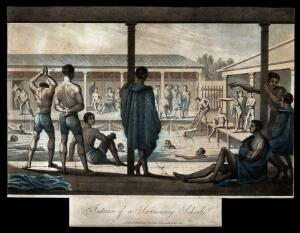 view Young men bathing and relaxing at a swimming school. Coloured aquatint, 1822.