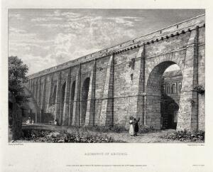 view The aqueduct at Arcueil. Engraving by I.C. Allen, 1822, after F. Nash.