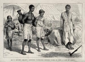 view Abyssinian girls carrying water to a camp. Wood engraving by P.F. Durand.