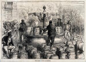 view Water-sellers filling barrels with water from a water fountain in Madrid. Wood engraving.