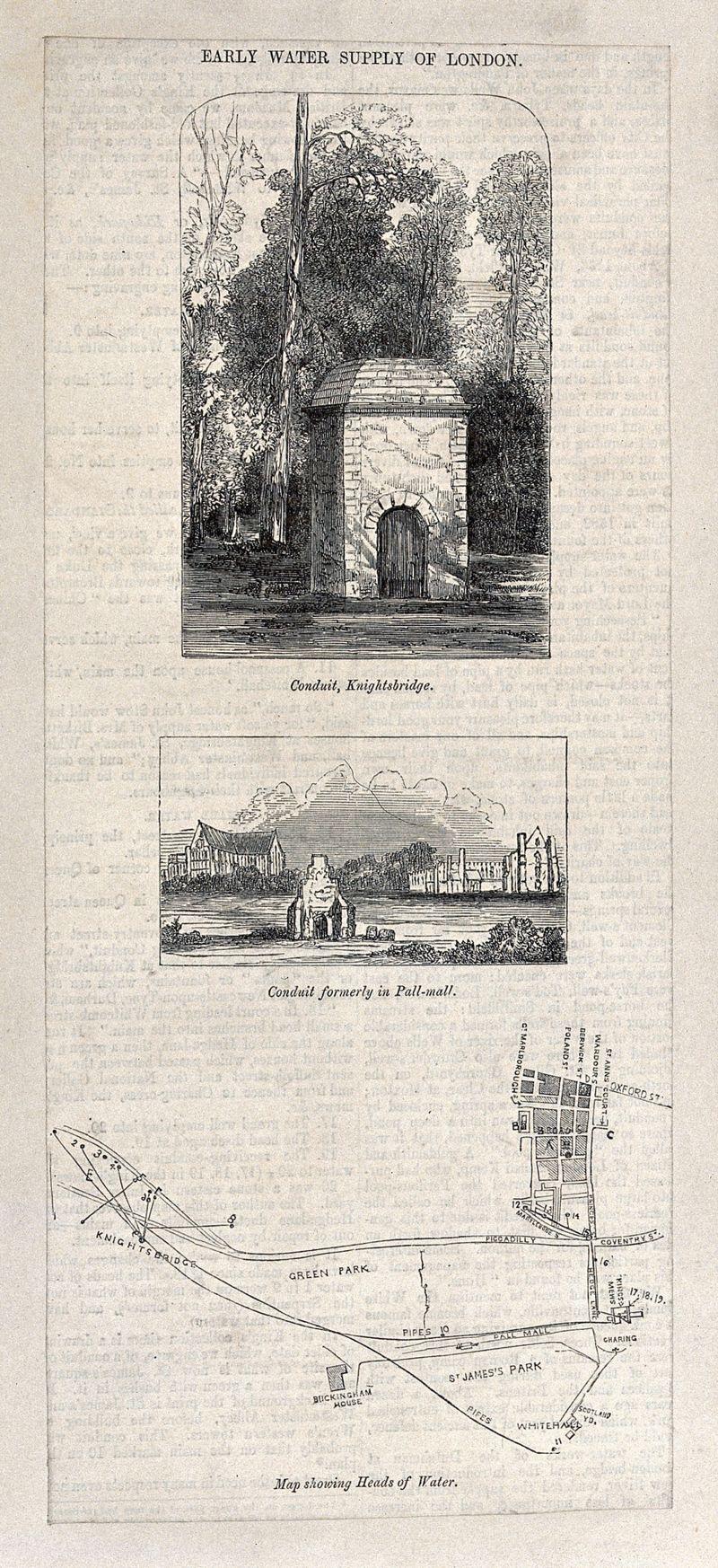 Knightsbridge London Map.Early Water Supply Of London Conduit At Knightsbridge The Conduit