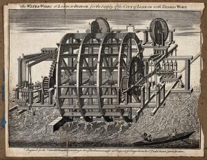 view Water-wheel at London Bridge for supplying water from the Thames to the City of London. Engraving, 1749.