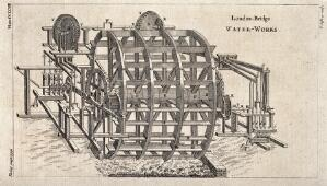 view The large waterwheel at the waterworks on London Bridge. Engraving by T. Jefferys.