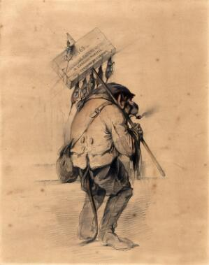 view A monkey dressed as a rat-catcher, smokes a pipe, and holds a pole with a wooden box attached to it (containing rat poison) from which dead rats dangle. Pencil drawing with watercolour by Fernand Pelez de Cordova.