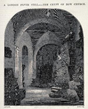 view The crypt of Bow church, containing coffins of London fever victims. Wood engraving by Laing after J. Brown.