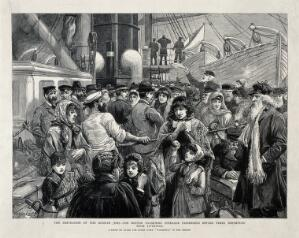 view Russian Jews being examined by a doctor before emigration from Liverpool to the United States. Wood engraving, 1891.