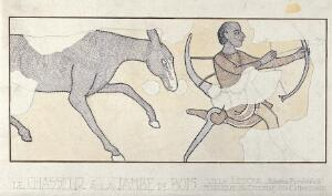 view A bow-carrying archer whose left leg is hooked into a wooden stump is pursued by a horse. Watercolour after a mosaic in the Cathedral at Lescar.