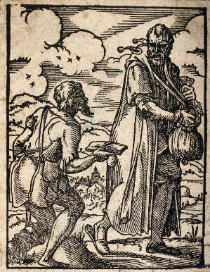 view A poor man on crutches accosting a traveller. Woodcut by J. Amman, c. 1568 (?).