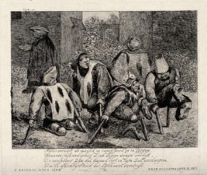 view Five legless men moving with the aid of crutches in a yard. Etching by F.D. Hillemacher after P. Bruegel, 1871.