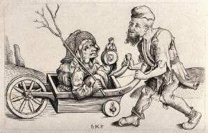 view A man in ragged clothes pushing a woman sitting in a wheelbarrow. Etching with engraving by W.Y. Ottley after the Monogrammatist bxg.