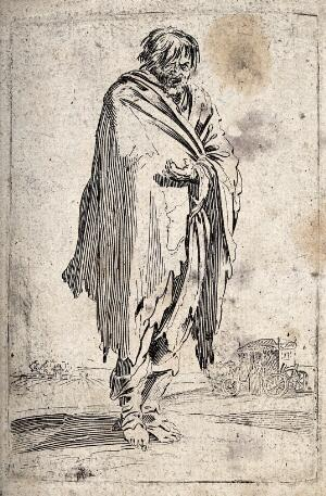 view A bearded beggar in ragged clothes. Etching with engraving possibly after J. Callot.