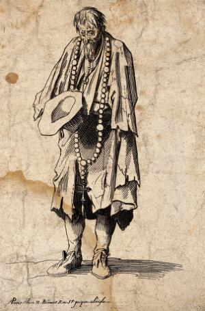 view A bearded one-armed beggar in ragged clothes wearing a large rosary with a crucifix. Etching with engraving possibly after J. Callot.