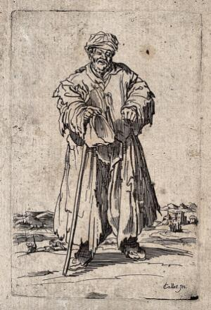 view A bearded beggar dressed in rags holding a hat and a staff in his right hand. Etching by J. Callot.