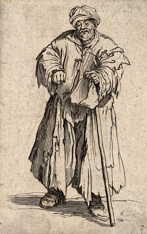 view A bearded beggar dressed in rags holding a hat and a staff in his left hand. Etching with engraving possibly after J. Callot.