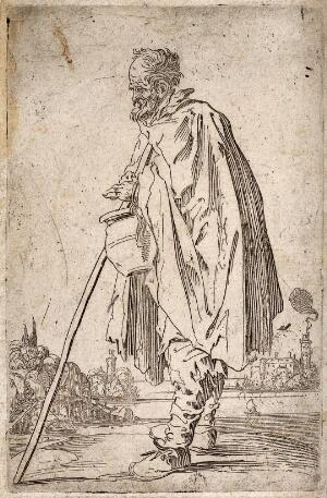 view A bearded beggar dressed in a ragged cloak, holding a drinking vessel and a staff. Etching with engraving, possibly after J. Callot.