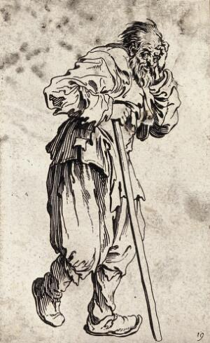 view A bearded beggar dressed in rags holding a staff in his right hand. Etching with engraving possibly after J. Callot.