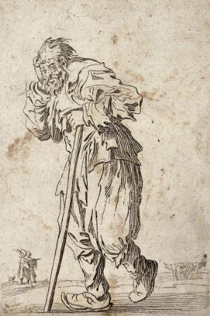 view A bearded beggar, dressed in rags, holding a staff in his left hand. Etching with engraving possibly after J. Callot.