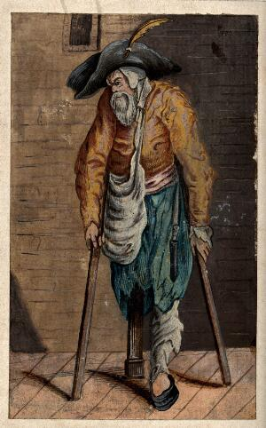 view A one-legged beggar with two crutches. Gouache possibly after J. Callot.
