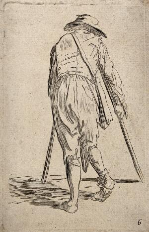 view A lame beggar moving with crutches seen from behind. Etching possibly after J. Callot.