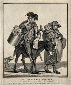 view A pregnant woman leading a donkey on which a discharged veteran, who has lost both his legs, is sitting carrying one of their children in a bucket. Etching with engraving by J. Caldwell after J. Collet, 1775.