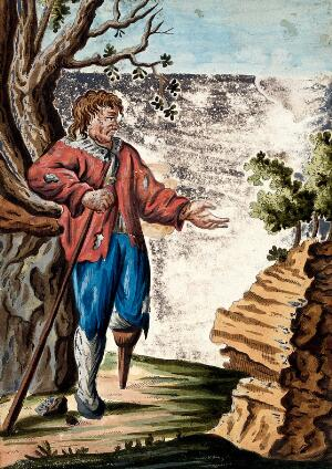 view A man dressed in rags with a wooden leg-stump begging with his outstretched left hand while holding a stick with his right hand. Coloured etching.