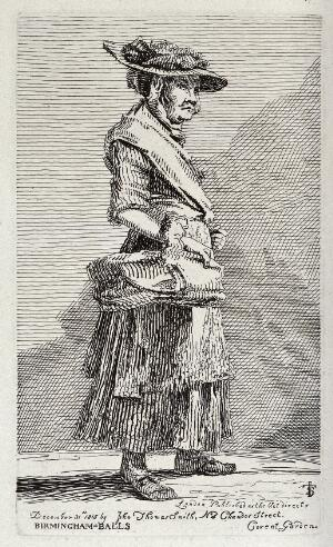 view A beggar woman selling wares from a basket in her right hand. Etching by J. T. Smith, 1815.